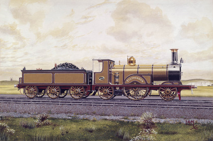 'Stephenson', 2-2-2 steam locomotive no 329, 1891.