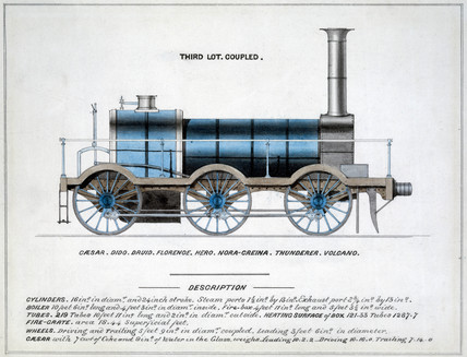 'Third Lot, Coupled', steam locomotive, 1857.