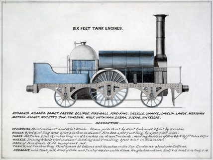 'Six Feet Tank Engines', steam locomotive, 1857.