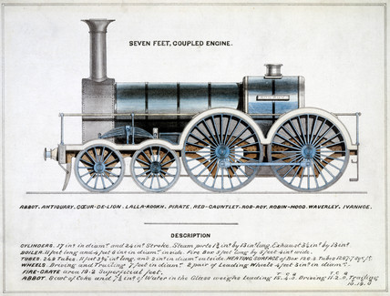 'Seven Feet Coupled Engine', steam locomotive, 1857.