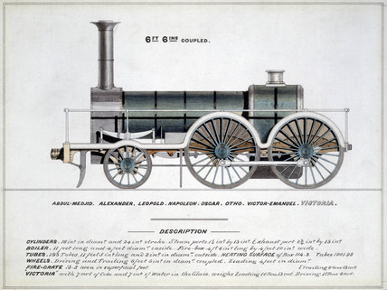 '6 ft 6ins Coupled', steam locomotive, 1857.