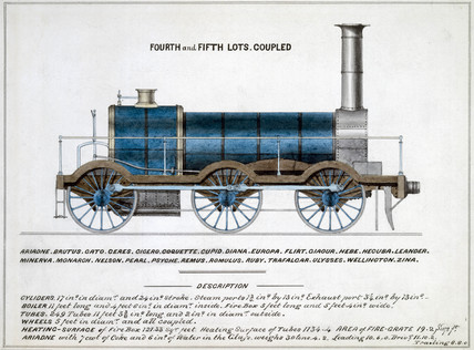 'Fourth and Fifth Lots Coupled', steam locomotive, 1857.
