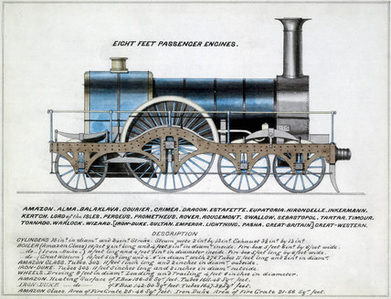 'Eight Feet Passenger Engines', steam locomotive, 1857.