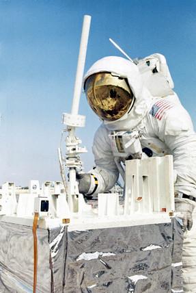 Apollo 13 astronaut during lunar activity training, 1970.