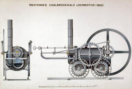 'Trevithick's Coalbrookdale Locomotive (1803),' c 1955.