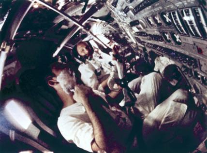 On board Apollo 10, 1969.