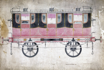 Manchester & Leeds Railway first clas carriage, c 1844.