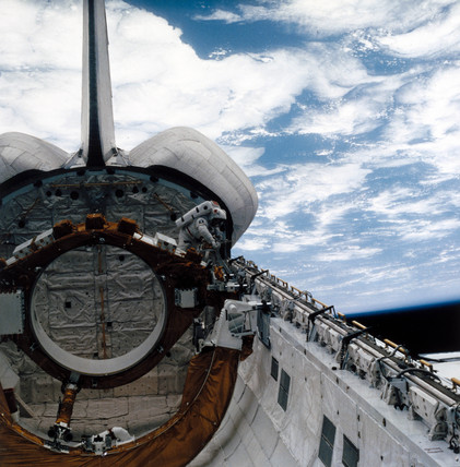 Space Shuttle astronaut on EVA, 1980s.