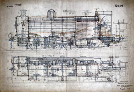 Drawing of 0-8-0 locomotive, 1899.