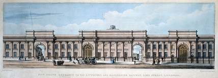 'New Grand Entrance to the Liverpool & Manchester Railway, Lime Street', 1836.