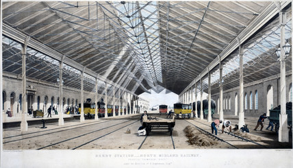 Interior view of Derby Station, Derbyshire, 1830-1844.