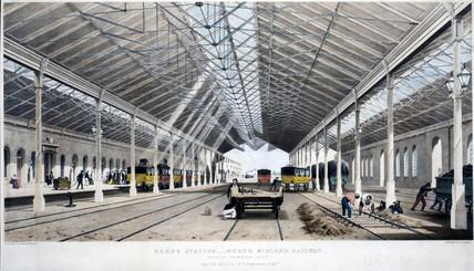 Interior view of Derby Station, Derbyshire, 1830-1844.