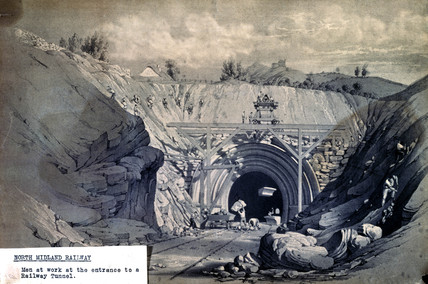 Work in progres at entrance to Milford Tunnel, 1840.