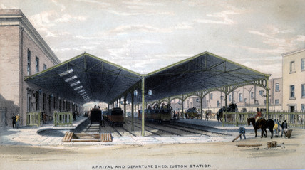 Arrival and Departure Shed, Euston Station, London, 1839.