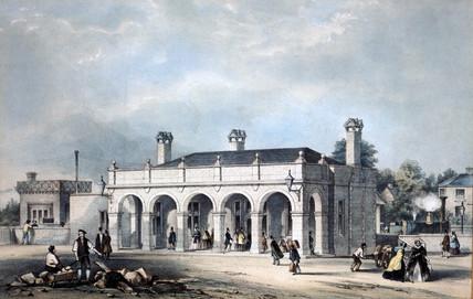 Leek Station, Staffordshire, c 1840,