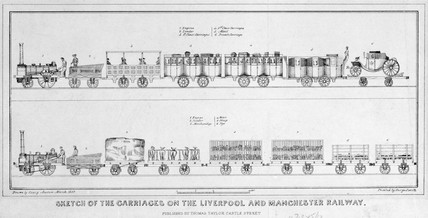 'Sketch of the Carriages on the Liverpool and Manchester Railway', 1832.