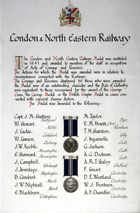 Roll of Honour detailing 22 recipients of t