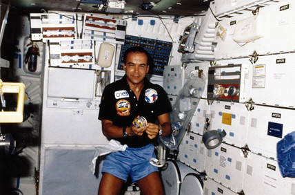 French astronaut Patrick Baudry aboard  the Space Shuttle Discovery, 1985.
