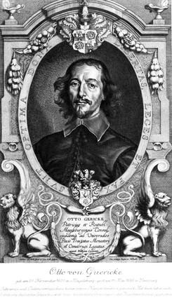 Otto von Guericke, German physicist and inventor, 1649.