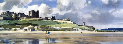 Bamburgh Castle, Northumberland, BR (NER) carriage print, c 1950s.