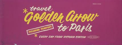 'Travel Golden Arrow to Paris', BR carriage advertisement, 1950s.