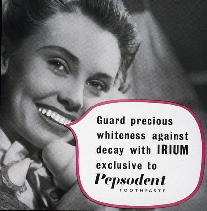 Pepsodent toothpaste advertisement, mid 20th century.