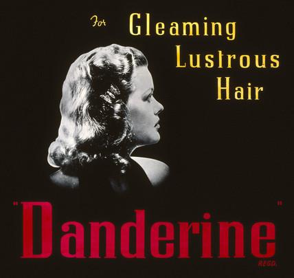 'Danderine - for Gleaming Lustrous Hair', advertisement, 1940-1950.