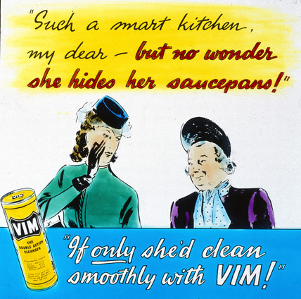 'Clean smoothly with VIM!', advertisement, c 1950s.