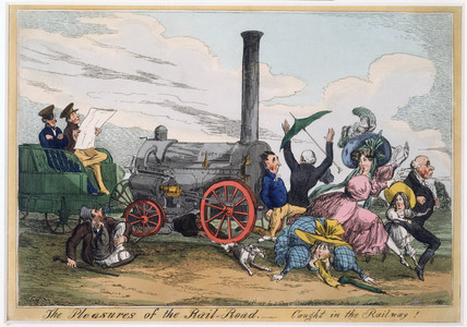 'The Pleasures of the Rail Road - Caught in the Railway!', c 1840.