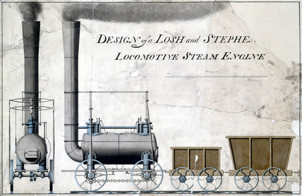 'Design of a Losh and Stephenson Locomotive Steam Engine', c 1826.