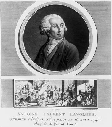 Antoine Lavoisier, French chemist, 1788.