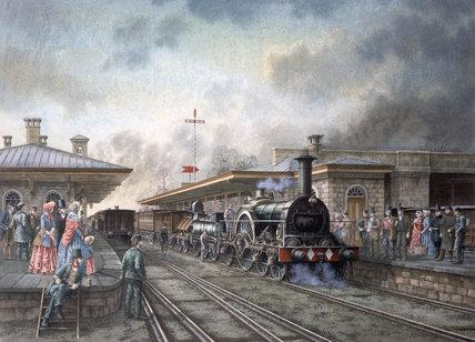 'Iron Duke' locomotive at Chippenham Station, Wiltshire, c 1850.