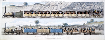 'Travelling on the Liverpool & Manchester Railway', 1831.