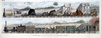 'Travelling on the Liverpool & Manchester Railway', 1833.