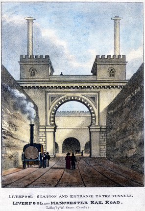 'Liverpool Station and Entrance to the Tunnels', Merseyside, 1831.
