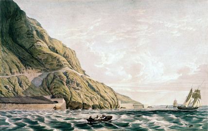 Viaduct, tunnel & sea wall at the foot of Penmaen Mawr, Wales, 1 June 1849.