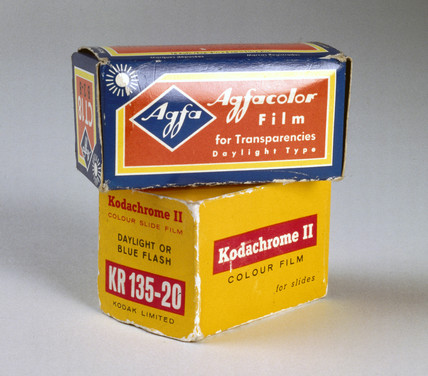 Boxes of film for colour slides, c 1960.