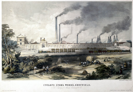 'View on the Midland Railway - Cyclops Steel Works, Sheffield', c 1845.
