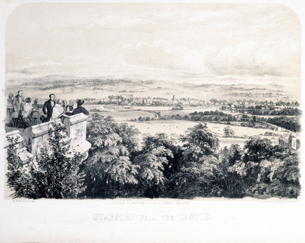 'Stafford from the Castle', Staffordshire, London & North Western Railway, 1848.