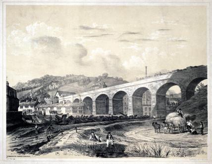 'Todmorden Viaduct and Bridge', West Yorkshire, 1845.