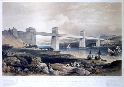 The Britannia Tubular Bridge over the Menai Straits, Wales, 1850.