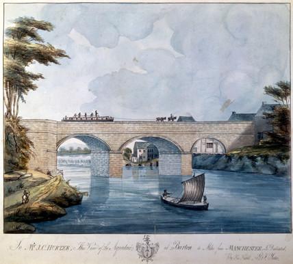 Britannia Tubular Bridge, Wales, during construction, 1848.
