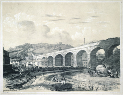 'Todmorden Viaduct and Bridge', West Yorkshire, 1845.