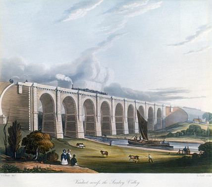 Viaduct acros the Sankey Valley, Warrington, Cheshire, February 1831.