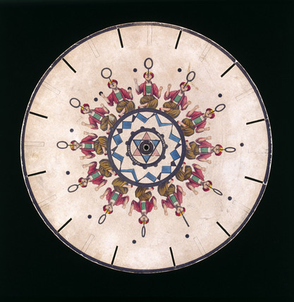 Phenakistoscope disc showing a juggler, c 1830.