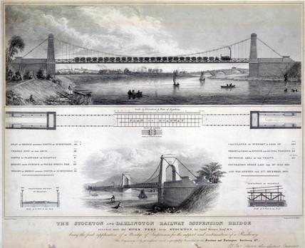 'The Stockton and Darlington Railway Suspension Bridge', c 1830.