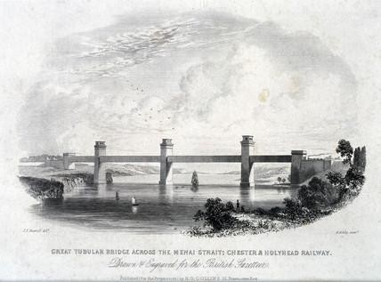 The Britannia Tubular Bridge over the Menai Straits, Wales, 1850s.