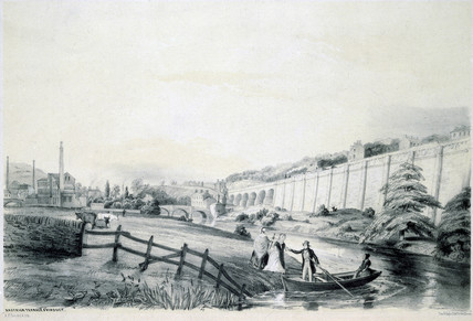 'Rastrick Terrace & Viaduct', Manchester and Leeds Railway, 1845.