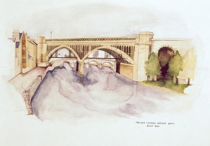 Oblique wooden bridge, Bath. Built in 1846.