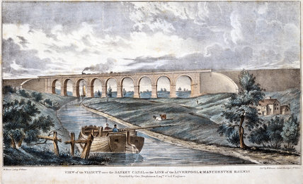 View of the Viaduct over the Sankey Canal', Warrington, Cheshire, c 1840s.